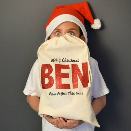 Personalised Christmas Metallic Name Sack